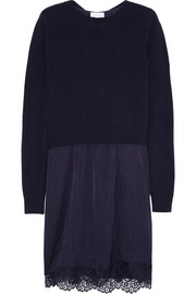CLU Lace-trimmed cashmere and satin sweater dress