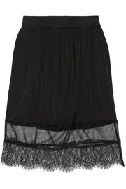 Satin, chiffon and lace skirt