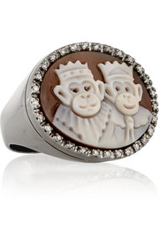 Amedeo Sardonyx shell and diamond monkey cameo ring