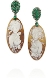 Amedeo Rhodium-plated Sardonyx shell and emerald earrings