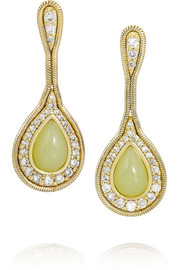 18-karat gold, diamond and serpentine earrings