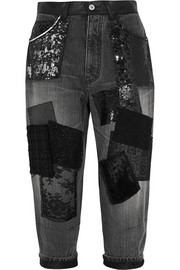 Patchwork cropped high-rise boyfriend jeans