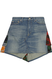 Patchwork denim and plaid wool mini skirt