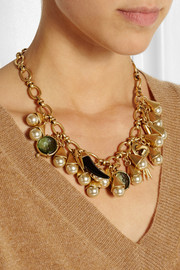 J.Crew Gold-tone, faux pearl and crystal necklace