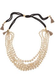 J.Crew Faux pearl and cotton tassel necklace