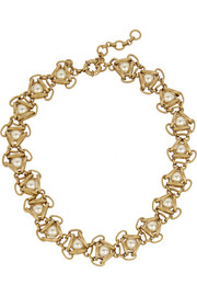 J.Crew Gold-tone faux pearl necklace