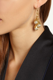 J.Crew Gold-tone faux pearl earrings