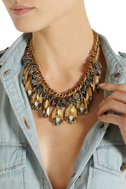 J.Crew Alloy gold-tone Swarovski crystal necklace