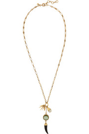 J.Crew Pearl Corn gold-tone, faux pearl and crystal necklace