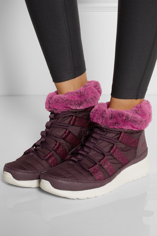 Burgundy Roshe Run Hi shell sneaker