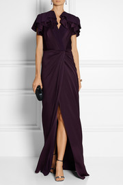 Jenny Packham Wrap-effect hammered satin gown