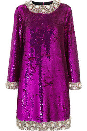 Embellished sequined mini dress