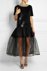 Ashish Embellished sequined cotton and tulle gown