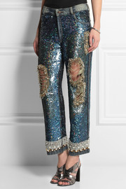 Ashish Sequined distressed low-rise boyfriend jeans