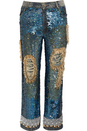Sequined distressed low-rise boyfriend jeans