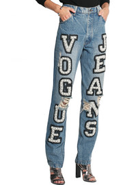 Ashish Vogue embellished high-rise boyfriend jeans