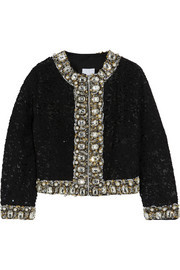Embellished sequined cotton jacket