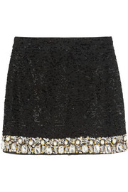 Embellished sequined mini skirt