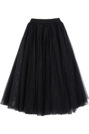Sequined tulle maxi skirt