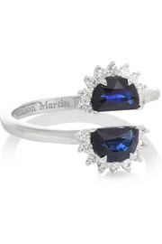 Pompadour 18-karat white gold, sapphire and diamond ring