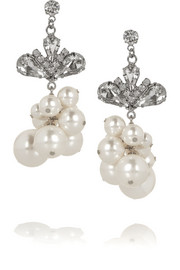 Tom Binns Regal Rocker rhodium-plated, Swarovski crystal and pearl earrings