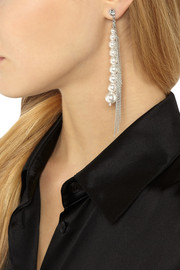 Tom Binns Ultra Pearl rhodium-plated, Swarovski crystal and pearl earrings
