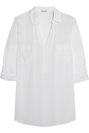 Splendid Jersey-paneled voile shirt