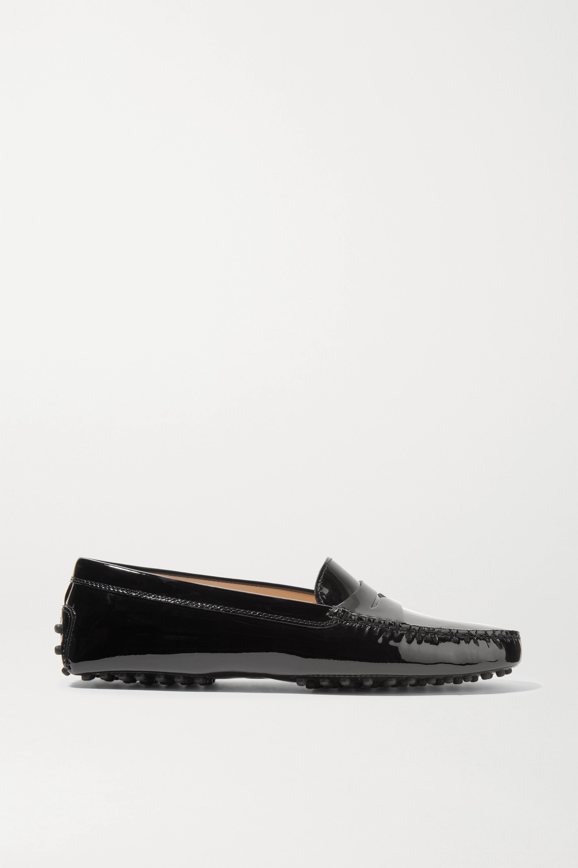 Black Gommino patent-leather loafers