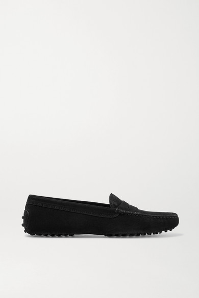 Tod's Gommino Driving Shoes In Suede In Black