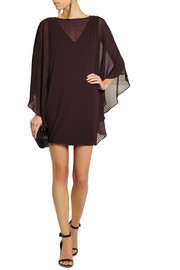 Halston Heritage Draped chiffon and stretch-jersey mini dress