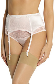 Mimi Holliday by Damaris Oyster Whippy lace-appliquéd stretch-silk satin suspender belt