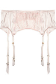 Oyster Whippy lace-appliquéd stretch-silk satin suspender belt
