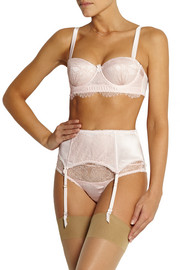 Mimi Holliday by Damaris Oyster Whippy lace-paneled stretch-silk satin briefs