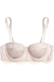 Oyster Whippy lace and stretch-silk satin balconette bra