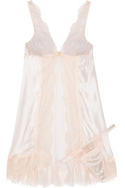 Oyster Whippy lace and stretch-silk satin babydoll set