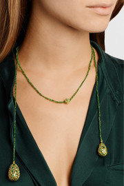 Pippa Small 18-karat gold, emerald and tourmaline necklace