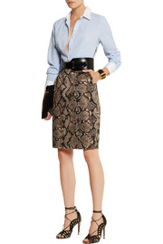 Altuzarra for Target Pinstriped crepe de chine and python-print twill shirt dress