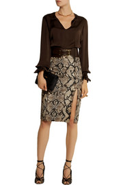 Altuzarra for Target Python-print stretch-cotton twill pencil skirt