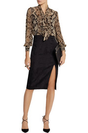 Altuzarra for Target Python-print georgette pussy-bow blouse