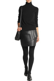 Maje Gaia layered leather mini skirt