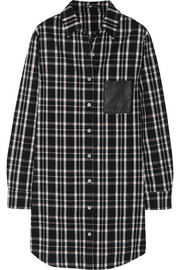 Maje Grunge leather-trimmed plaid flannel shirt