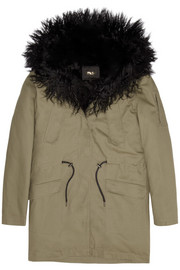 Maje Gondry faux fur-lined cotton-twill parka