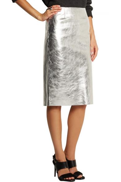 0a880aec22 Maje | Gallium metallic leather pencil skirt | NET-A-PORTER.COM