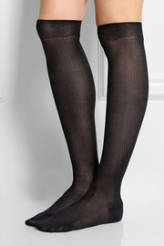 Maria La Rosa Ribbed over-the-knee silk socks