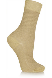 Metallic stretch-knit socks