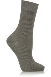 Maria La Rosa Metallic stretch-knit socks