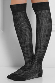 Maria La Rosa Pindot over-the-knee wool and silk-blend socks