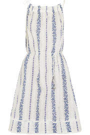 Zimmermann Hydra embroidered printed cotton-voile dress