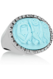 Amedeo Rhodium-plated topaz monkey cameo ring
