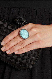 Amedeo Rhodium-plated, faux turquoise and topaz monkey cameo ring
